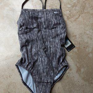 NIKE Vertical Gray Stripe Racerback Swimsuit